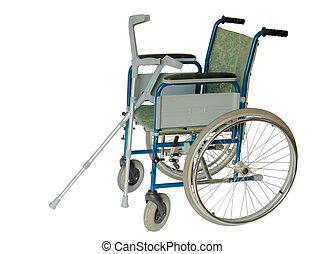 Wheelchair - Isolated wheelchair and crutches