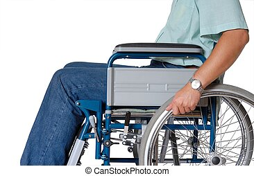 Wheelchair - Man sitting in wheelchair - isolated