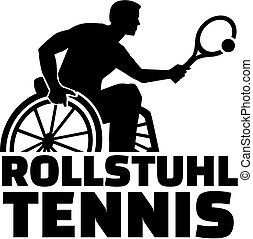Wheelchair Tennis silhouette with german word