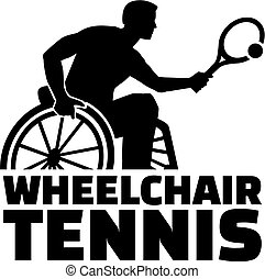 Wheelchair Tennis silhouette with word
