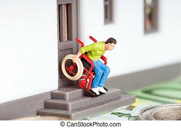 Wheelchair user on an exterior staircase and euro money