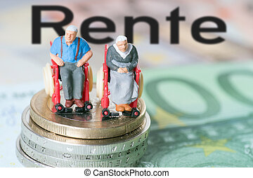 wheelchair users with euro money and the german word pension