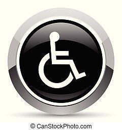 Wheelchair vector steel icon. Chrome border round web...