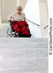 wheelchair, vrouw, oud