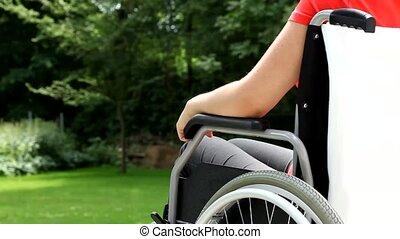 wheelchair, vrouw, tuin, jonge