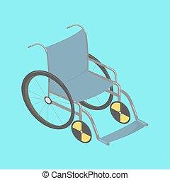 wheelchair, wektor, isometric, ilustracja