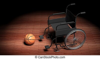 Wheelchair with basketball ball on wooden parquet floor