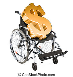 Wheelchair with dollar symbol, financial support concept. 3D rendering