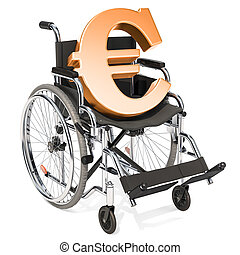 Wheelchair with euro symbol, financial support concept. 3D rendering