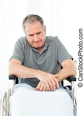wheelchair, zijn, gepensioneerd, man