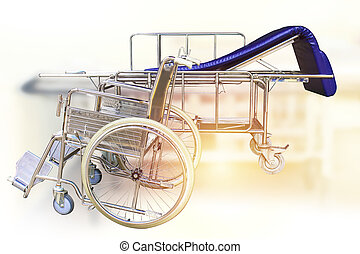 Wheelchairs and Hospital bed waiting for services. with sunlight copy space on area.