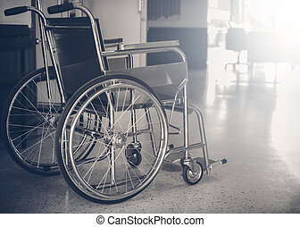 Wheelchairs in the hospital Dark tone, Wheelchairs waiting for patient services. with light copy space on left area