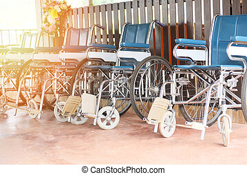 Wheelchairs in the hospital - Wheel chairs waiting for patient services disabled carriage