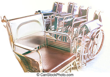 Wheelchairs waiting for services. with sunlight copy space on area.