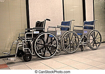Wheelchairs waiting - Wheelchairs in the clinic lobby