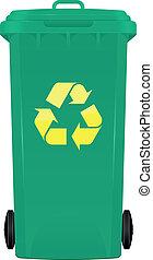 Wheeled bin - illustration of wheelie bin with symbol...