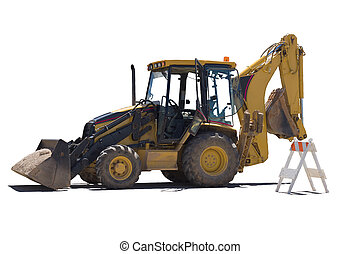 Wheeled excavator performs maintenance work.