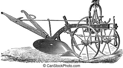 Wheeled plow with iron age, Didelot abbe, vintage engraving...