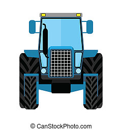 Blue wheeled tractor on a white background