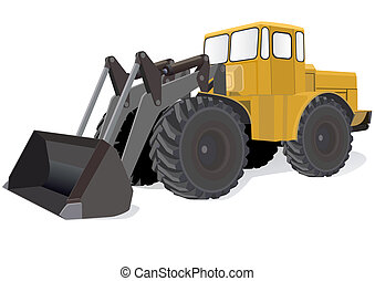 Modern wheeled tractors for construction or agricultural work.