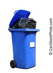 Wheelie bin - Full blue wheelie bin isolated on a white ...