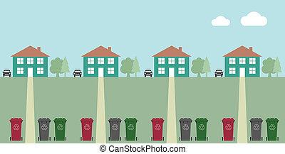 wheelie, reciclagem, caixas