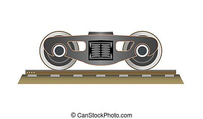 Wheels and bogie. Part of the wagon. Vector illustration. ...
