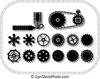 wheels and mechanisms silouhettes inside a bycicle chain...