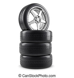 Wheels and tires - Wheels composition isolated on white