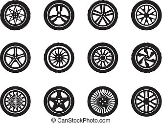 Wheels car. Tire shapes transport wheels silhouettes vector vehicle symbols collection