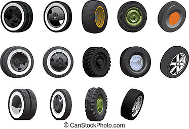 wheels - Various tyres and wheels. Simple gradients only -...