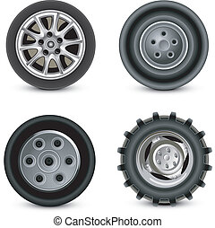 Wheels - Four wheels of different kinds to vehicles, ...