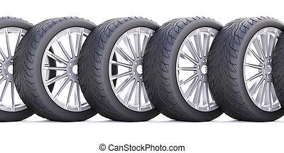 Wheels isolated on white.