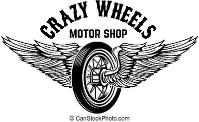 wheels., motorfiets, vleugels, vrijstaand, back, wiel, gek, ...