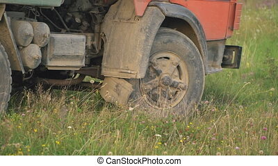 wheels of a loaded truck