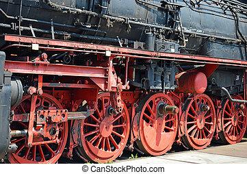 Wheels of historical German Steam train