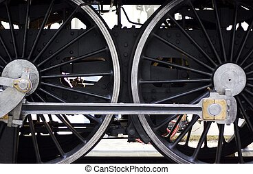 Wheels of old train - Close up of wheels of vintage train in...