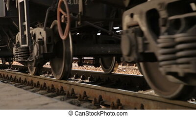 Wheels of railway freight train