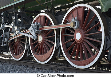 wheels of vintage steam train