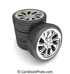 Wheels over white background.