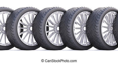 Wheels isolated on white.
