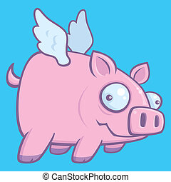 When Pigs Fly - Cartoon vector illustration of a flying pig.