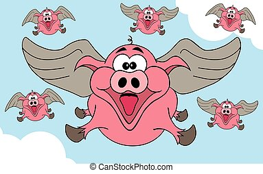 When Pigs Fly - Happy winged pigs flying through the skies
