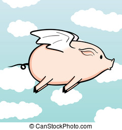 When Pigs Fly - This is a vector illustration of a flying...
