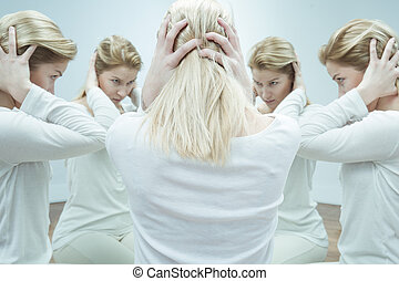 When voices in her head take control - Anxious young woman ...