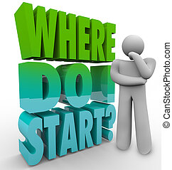 Where Do I Start Thinker Person Wondering Direction Plan - A...