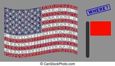 where?, stati uniti, francobollo, bandiera, stylization, graffiato