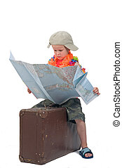 Where To Go Today? - Little kid on an old suitcase looking...
