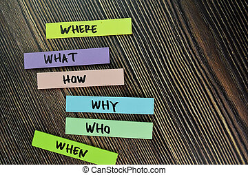 Where, What, How, Why, Who, When write on sticky note and isolated on Wooden Table.