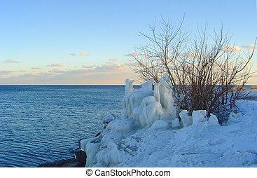 where white sunsets - Ontario Lake, February.